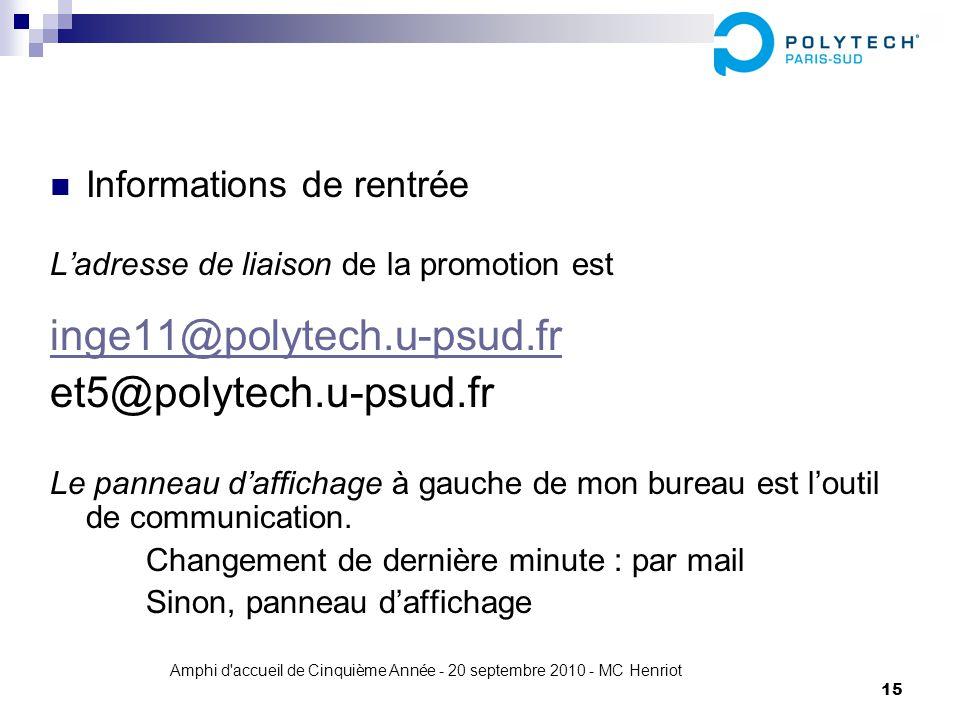 Amphi d'accueil de Cinquième Année - 20 septembre 2010 - MC Henriot 15 Informations de rentrée Ladresse de liaison de la promotion est inge11@polytech
