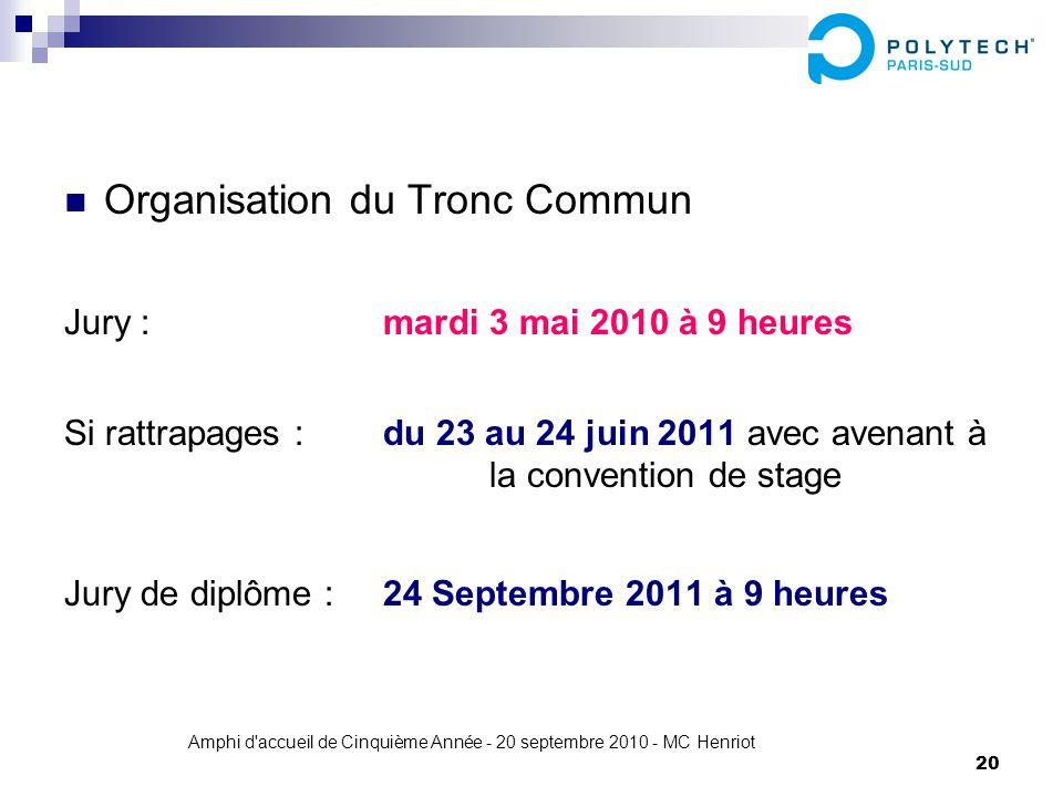 Amphi d'accueil de Cinquième Année - 20 septembre 2010 - MC Henriot 20 Organisation du Tronc Commun Jury : mardi 3 mai 2010 à 9 heures Si rattrapages