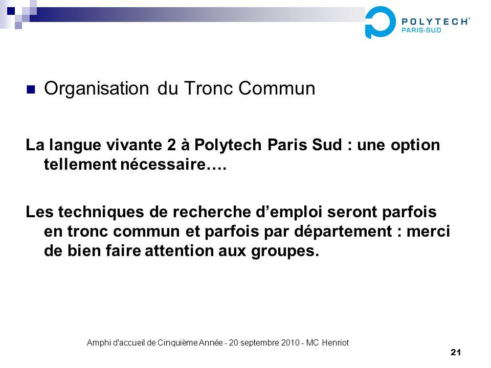 Amphi d'accueil de Cinquième Année - 20 septembre 2010 - MC Henriot 21 Organisation du Tronc Commun La langue vivante 2 à Polytech Paris Sud : une opt