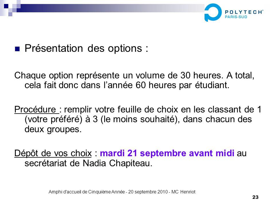 Amphi d'accueil de Cinquième Année - 20 septembre 2010 - MC Henriot 23 Présentation des options : Chaque option représente un volume de 30 heures. A t