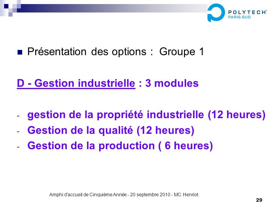 Amphi d'accueil de Cinquième Année - 20 septembre 2010 - MC Henriot 29 Présentation des options : Groupe 1 D - Gestion industrielle : 3 modules - gest