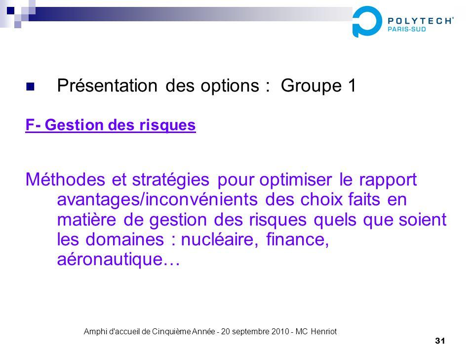 Amphi d'accueil de Cinquième Année - 20 septembre 2010 - MC Henriot 31 Présentation des options : Groupe 1 F- Gestion des risques Méthodes et stratégi