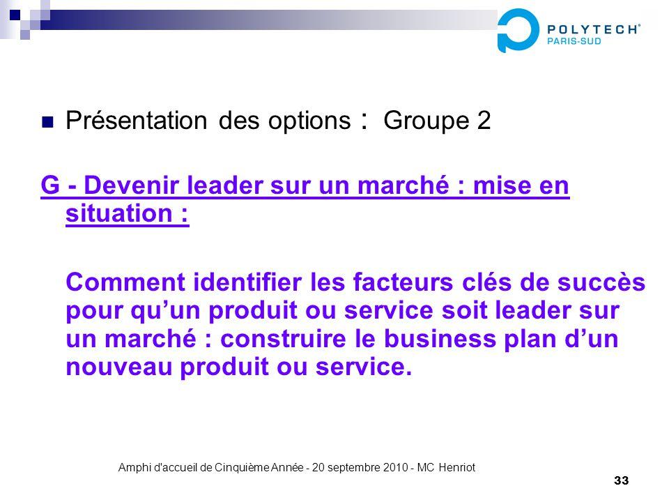 Amphi d'accueil de Cinquième Année - 20 septembre 2010 - MC Henriot 33 Présentation des options : Groupe 2 G - Devenir leader sur un marché : mise en