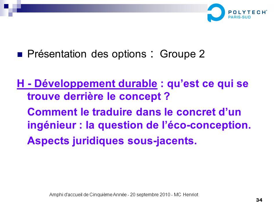 Amphi d'accueil de Cinquième Année - 20 septembre 2010 - MC Henriot 34 Présentation des options : Groupe 2 H - Développement durable : quest ce qui se