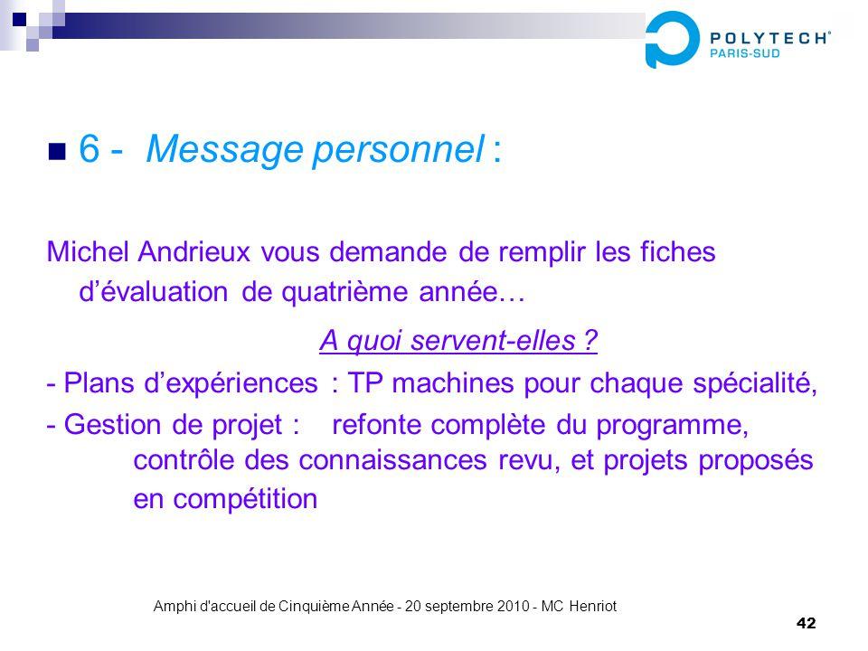 Amphi d'accueil de Cinquième Année - 20 septembre 2010 - MC Henriot 42 6 - Message personnel : Michel Andrieux vous demande de remplir les fiches déva