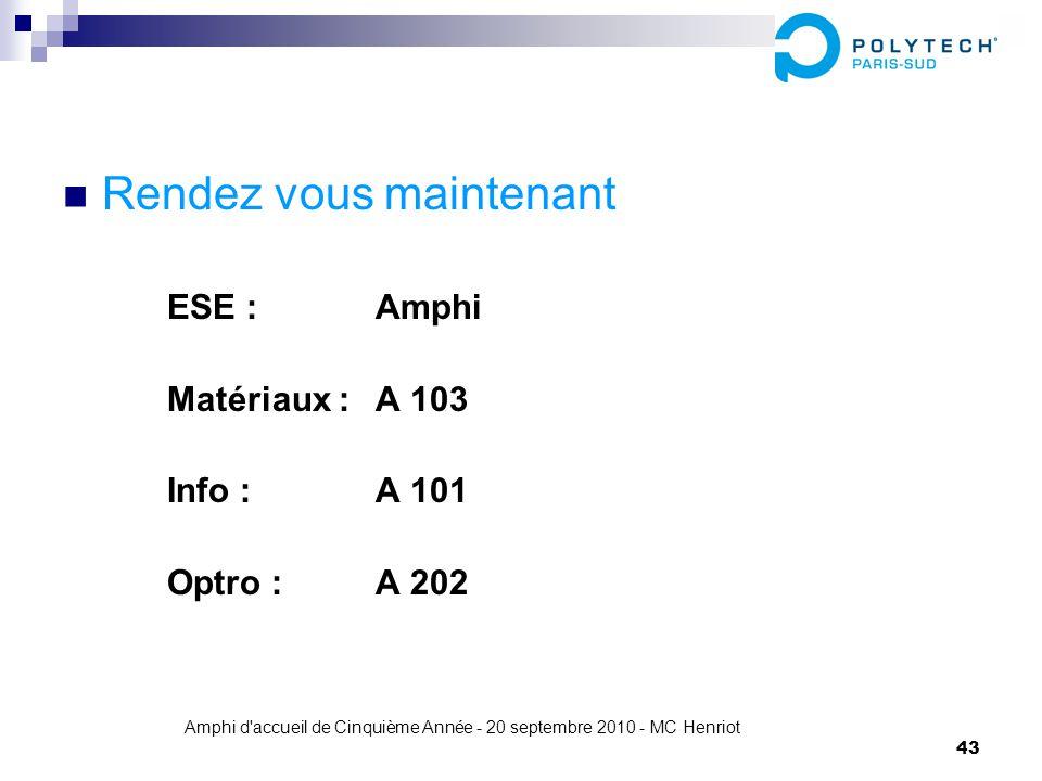 Amphi d'accueil de Cinquième Année - 20 septembre 2010 - MC Henriot 43 Rendez vous maintenant ESE : Amphi Matériaux : A 103 Info : A 101 Optro : A 202