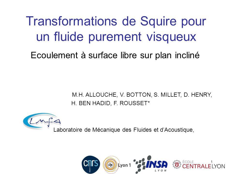1 M.H. ALLOUCHE, V. BOTTON, S. MILLET, D. HENRY, H. BEN HADID, F. ROUSSET* Laboratoire de Mécanique des Fluides et dAcoustique, 1 Transformations de S
