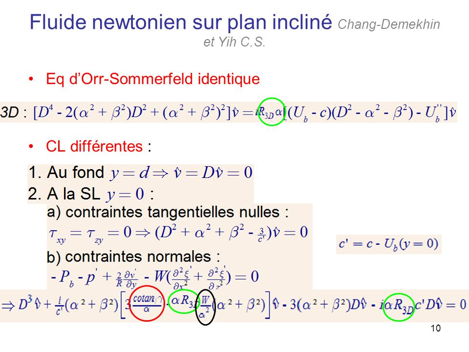 10 Fluide newtonien sur plan incliné Chang-Demekhin et Yih C.S. Eq dOrr-Sommerfeld identique CL différentes :