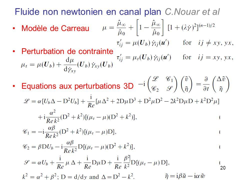 20 Fluide non newtonien en canal plan C.Nouar et al Modèle de Carreau Perturbation de contrainte Equations aux perturbations 3D