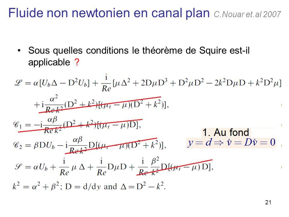 21 Fluide non newtonien en canal plan C.Nouar et.al 2007 Sous quelles conditions le théorème de Squire est-il applicable ?