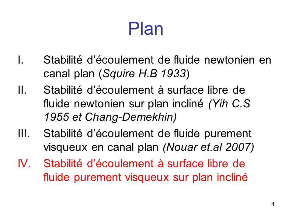 4 Plan I.Stabilité découlement de fluide newtonien en canal plan (Squire H.B 1933) II.Stabilité découlement à surface libre de fluide newtonien sur plan incliné (Yih C.S 1955 et Chang-Demekhin) III.Stabilité découlement de fluide purement visqueux en canal plan (Nouar et.al 2007) IV.Stabilité découlement à surface libre de fluide purement visqueux sur plan incliné