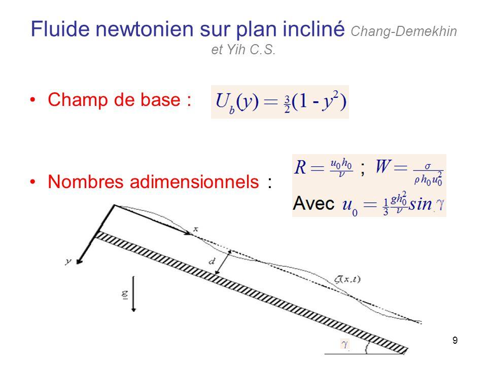 9 Fluide newtonien sur plan incliné Chang-Demekhin et Yih C.S. Champ de base : Nombres adimensionnels :
