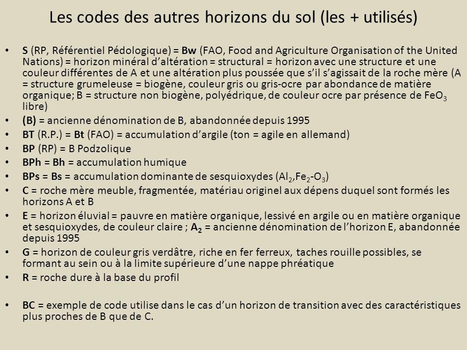 Les codes des autres horizons du sol (les + utilisés) S (RP, Référentiel Pédologique) = Bw (FAO, Food and Agriculture Organisation of the United Natio