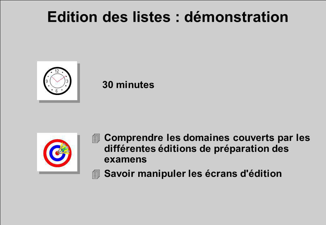 4Comprendre les domaines couverts par les différentes éditions de préparation des examens 4Savoir manipuler les écrans d édition Edition des listes : démonstration 12 6 3 9 30 minutes