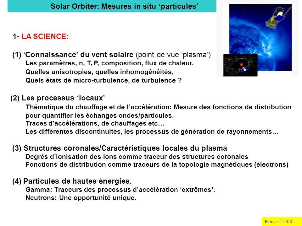 Paris – 12/4/05 1- LA SCIENCE: (1) Connaissance du vent solaire (point de vue plasma) Les paramètres, n, T, P, composition, flux de chaleur. Quelles a