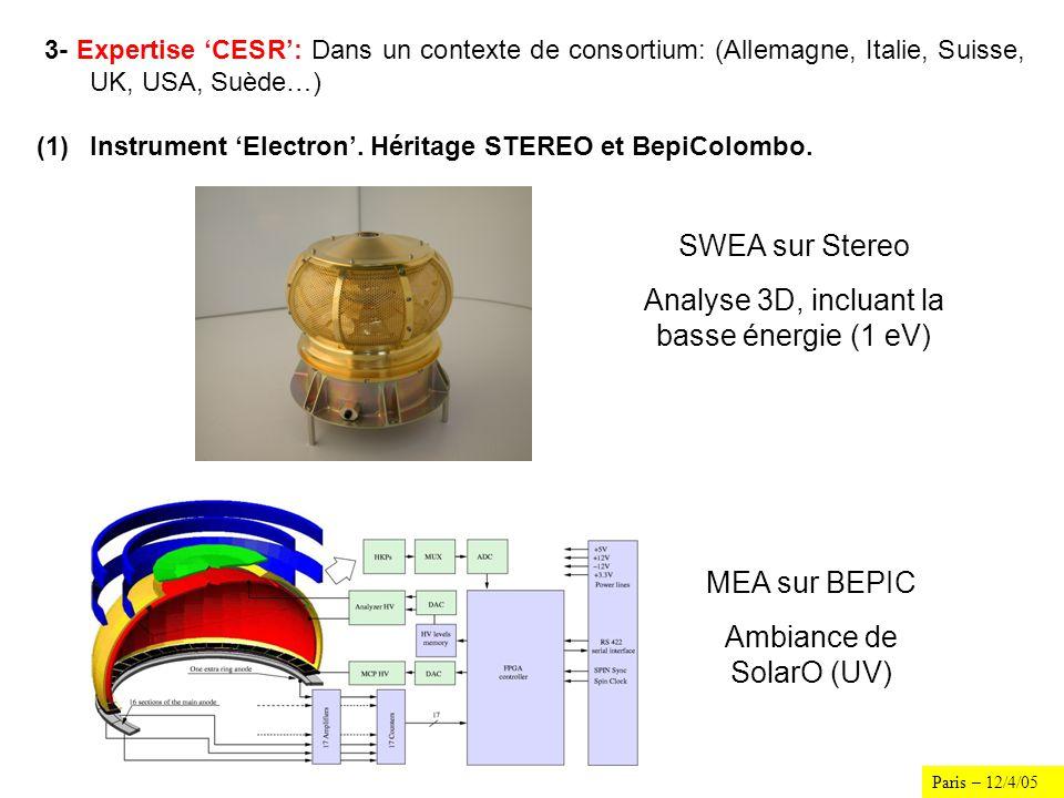 Paris – 12/4/05 3- Expertise CESR: Dans un contexte de consortium: (Allemagne, Italie, Suisse, UK, USA, Suède…) (1)Instrument Electron. Héritage STERE