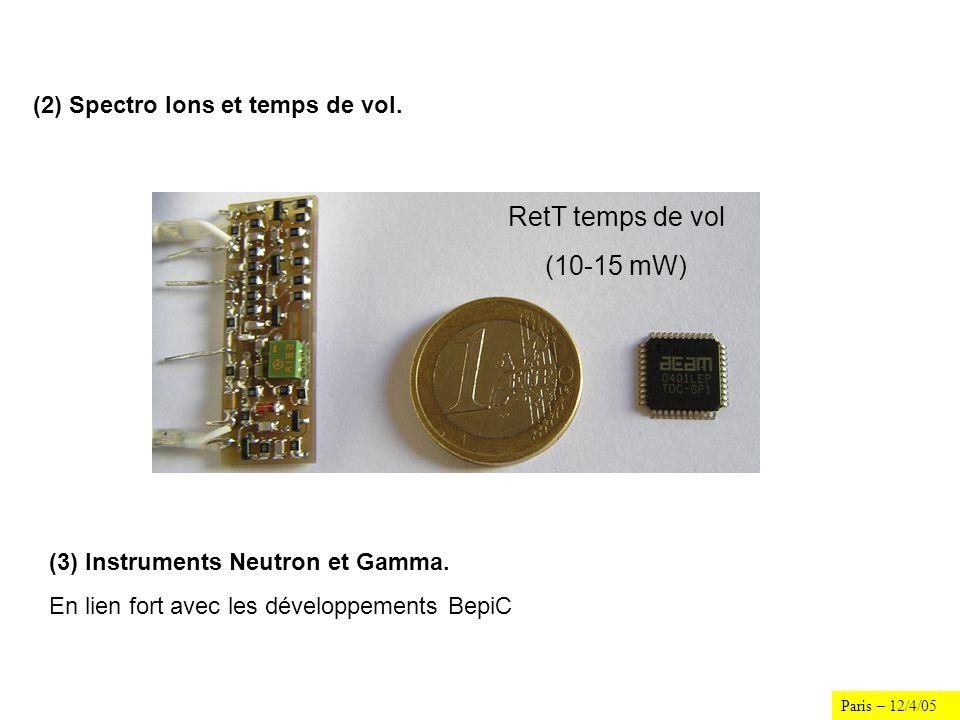 Paris – 12/4/05 (2) Spectro Ions et temps de vol. RetT temps de vol (10-15 mW) (3) Instruments Neutron et Gamma. En lien fort avec les développements