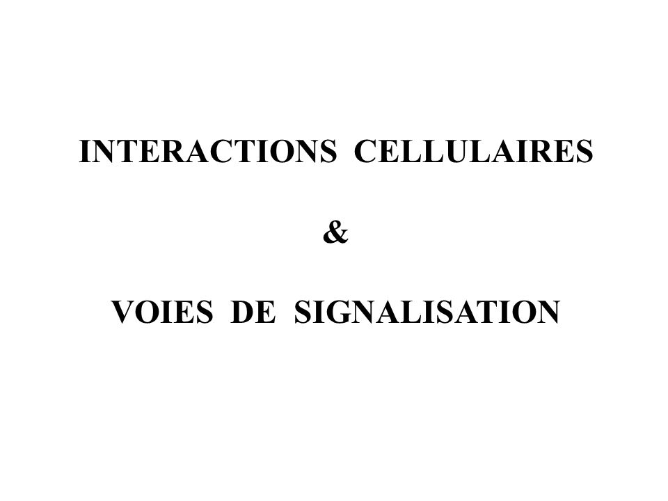 INTERACTIONS CELLULAIRES & VOIES DE SIGNALISATION