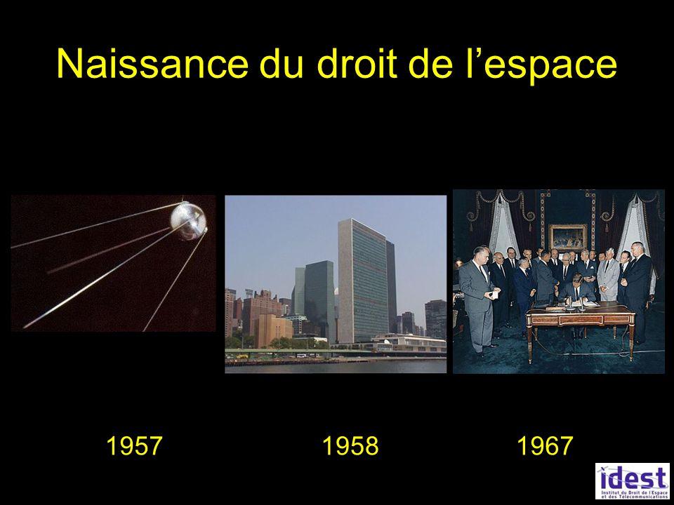 Sources du droit de lespace ONU : Grands principes juridiques UIT : régime des fréquences et des orbites Union européenne : directives spécifiques Loi sur les opérations spatiales 2008