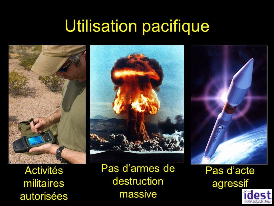Utilisation pacifique Pas dacte agressif Pas darmes de destruction massive Activités militaires autorisées