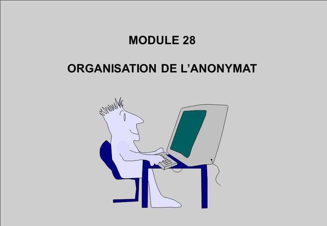 MODULE 28 ORGANISATION DE LANONYMAT