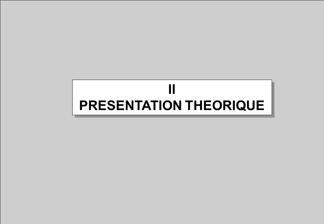 II PRESENTATION THEORIQUE II PRESENTATION THEORIQUE