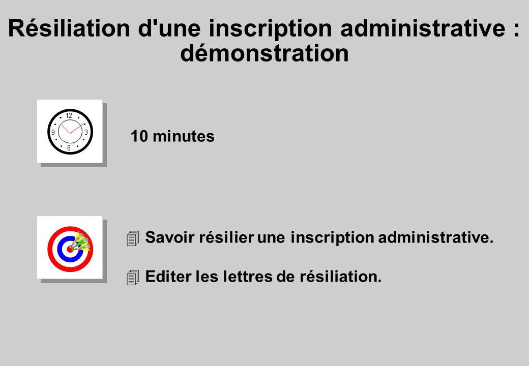 Résiliation d une inscription administrative : démonstration 12 6 3 9 10 minutes 4 Savoir résilier une inscription administrative.
