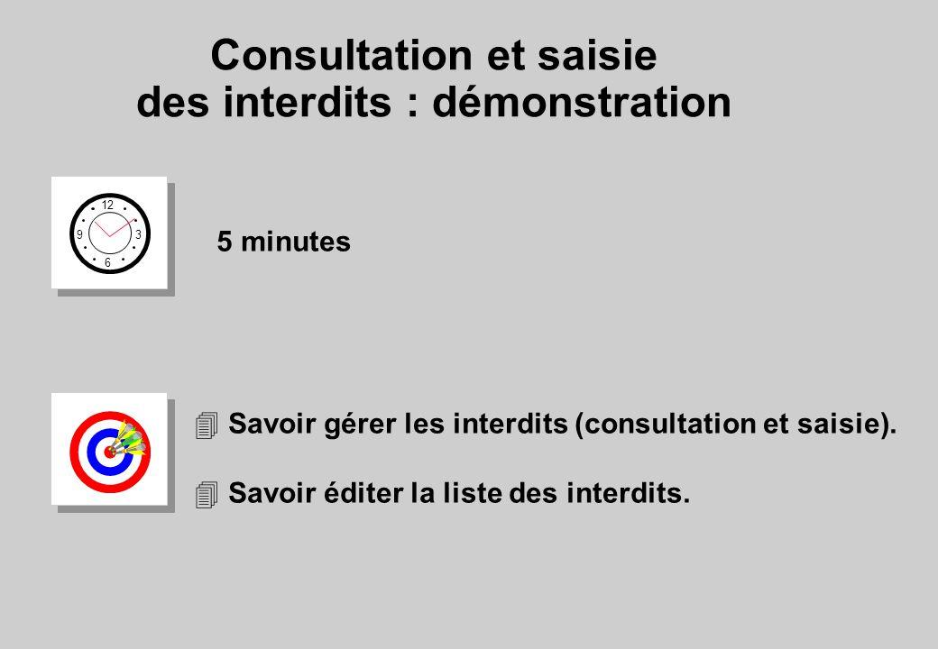 Consultation et saisie des interdits : démonstration 12 6 3 9 5 minutes 4 Savoir gérer les interdits (consultation et saisie).