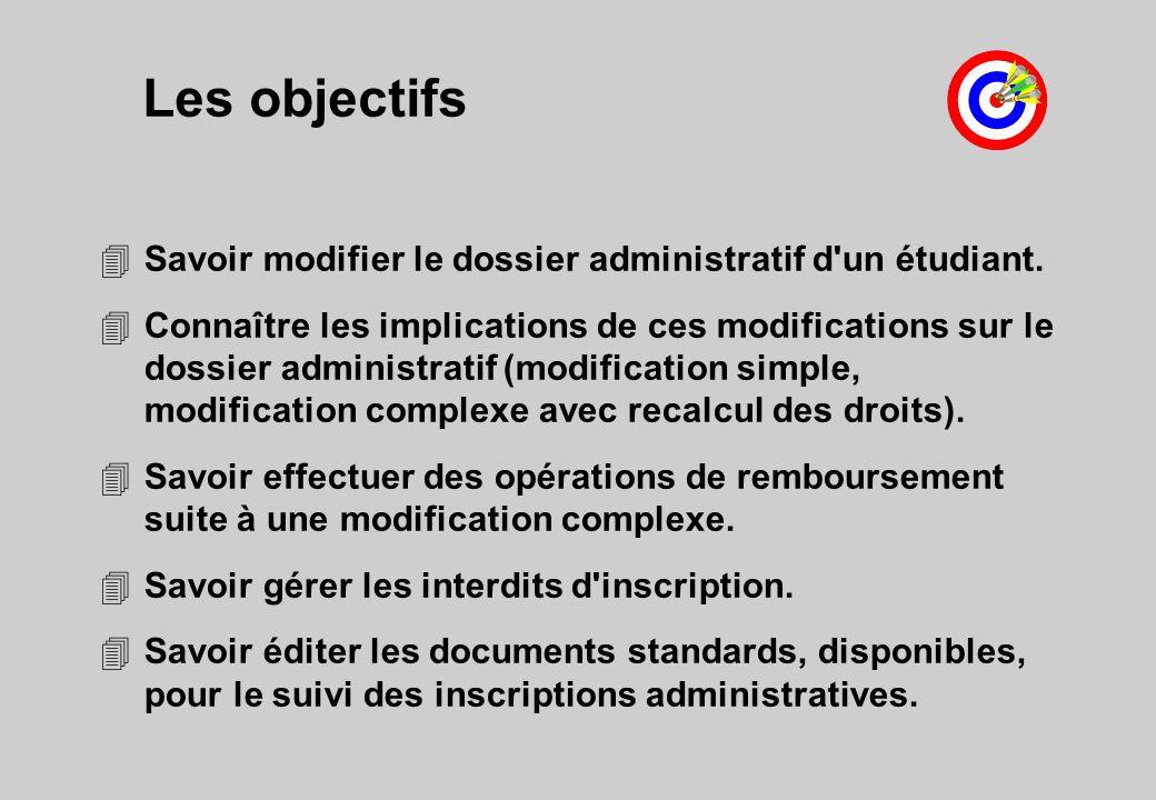 Les objectifs 4Savoir modifier le dossier administratif d un étudiant.
