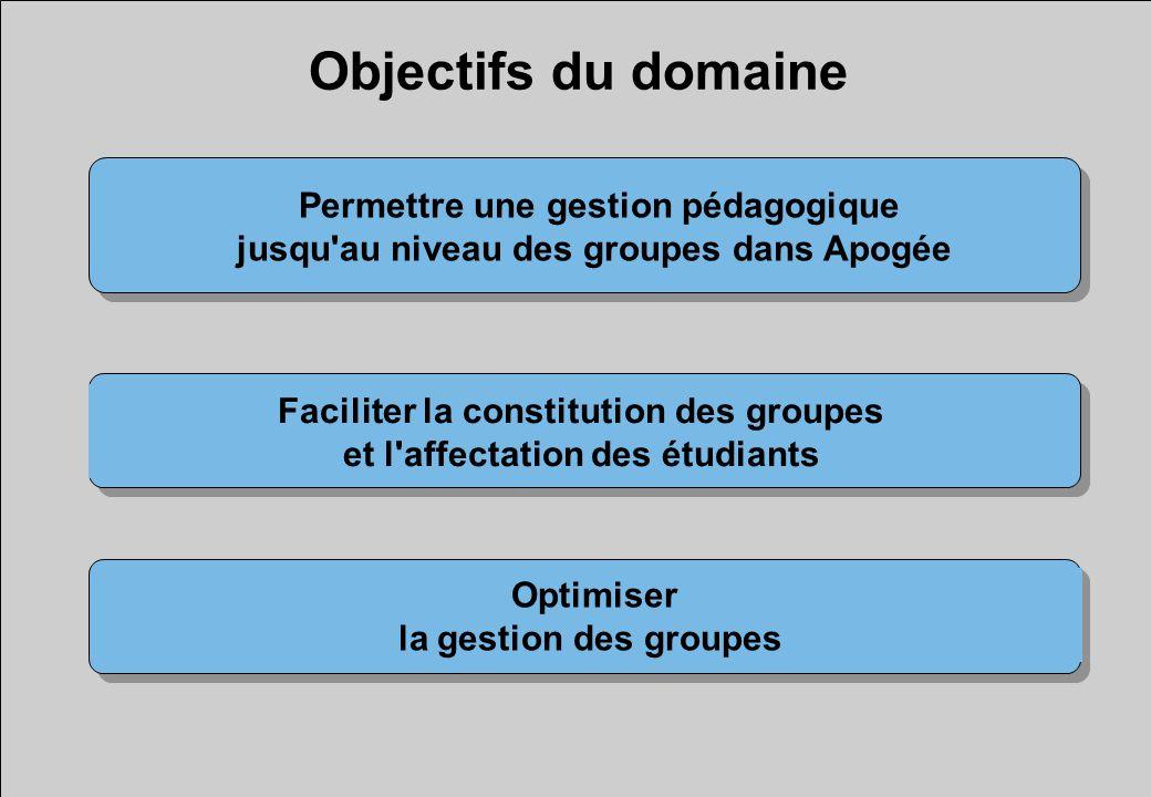 Objectifs du domaine Permettre une gestion pédagogique jusqu au niveau des groupes dans Apogée Optimiser la gestion des groupes Faciliter la constitution des groupes et l affectation des étudiants