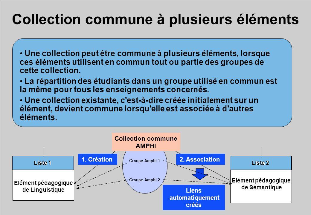 Collection commune à plusieurs éléments Une collection peut être commune à plusieurs éléments, lorsque ces éléments utilisent en commun tout ou partie des groupes de cette collection.