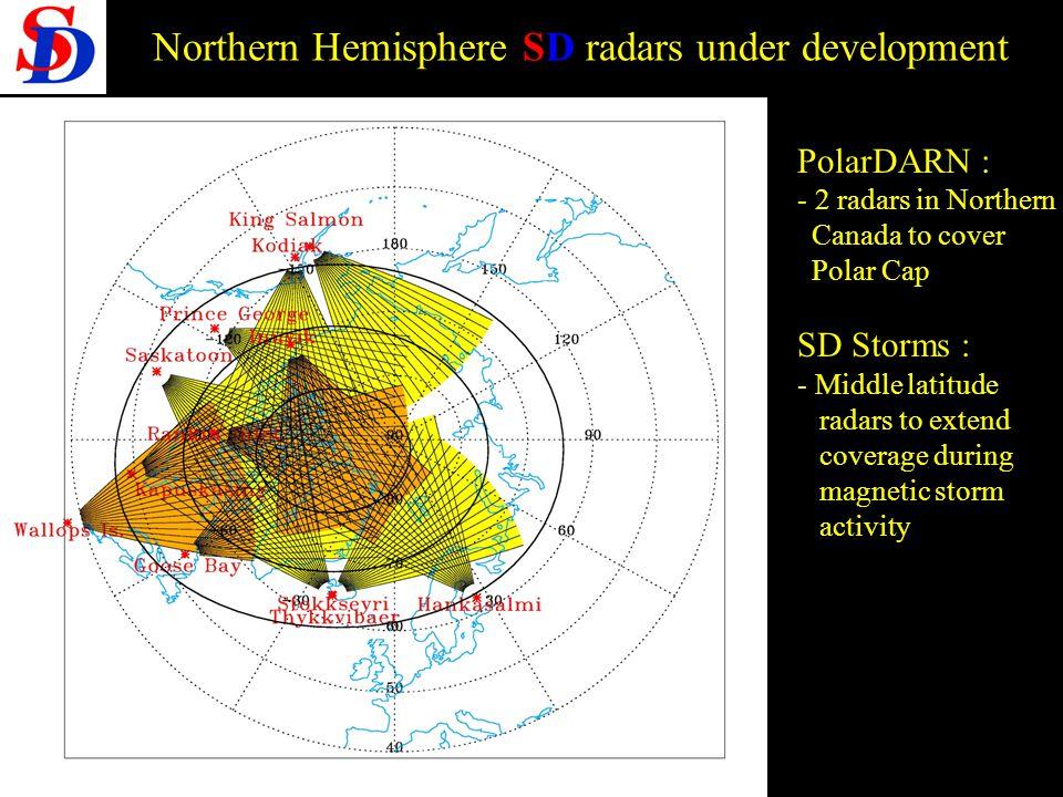 Prospective PNST 28-30 /09/2005 Northern Hemisphere SD radars under development PolarDARN : - 2 radars in Northern Canada to cover Polar Cap SD Storms