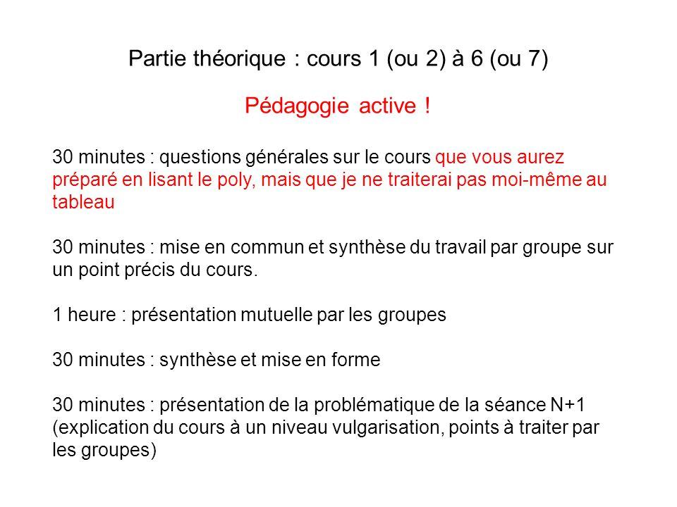 Partie théorique : cours 1 (ou 2) à 6 (ou 7) Pédagogie active ! 30 minutes : questions générales sur le cours que vous aurez préparé en lisant le poly