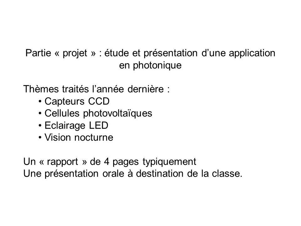 Partie « projet » : étude et présentation dune application en photonique Thèmes traités lannée dernière : Capteurs CCD Cellules photovoltaïques Eclair