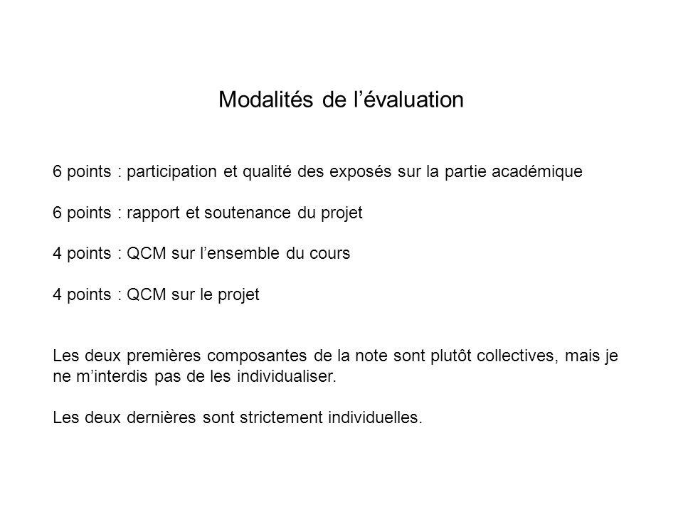 Modalités de lévaluation 6 points : participation et qualité des exposés sur la partie académique 6 points : rapport et soutenance du projet 4 points