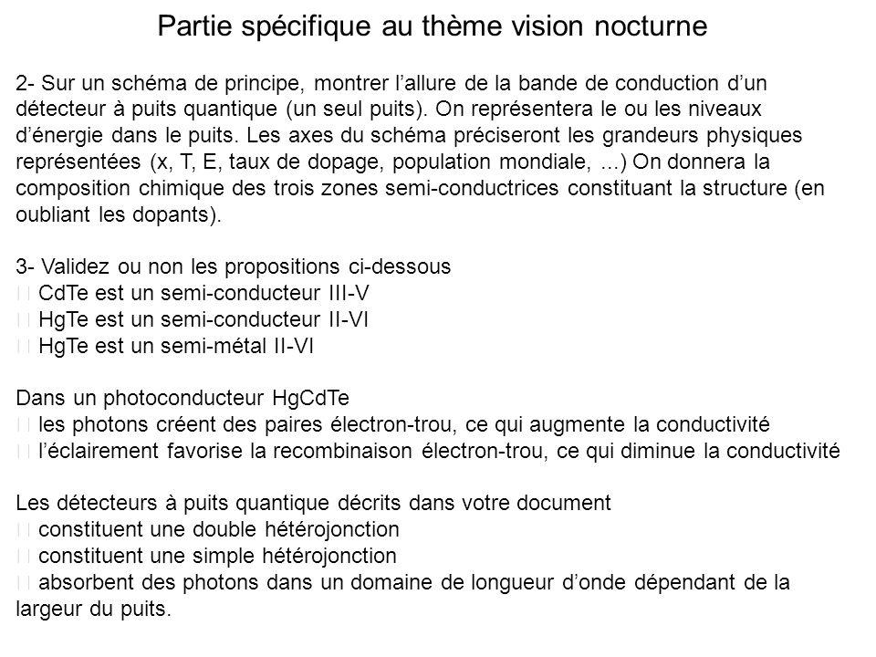 Partie spécifique au thème vision nocturne 2- Sur un schéma de principe, montrer lallure de la bande de conduction dun détecteur à puits quantique (un