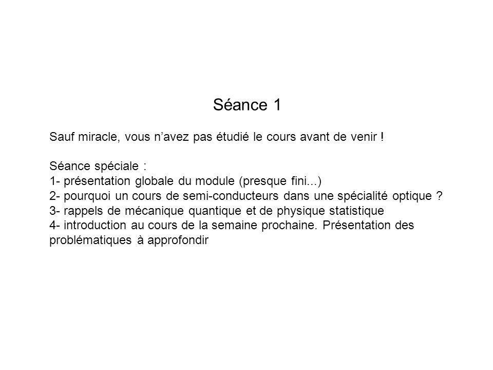 Séance 1 Sauf miracle, vous navez pas étudié le cours avant de venir ! Séance spéciale : 1- présentation globale du module (presque fini...) 2- pourqu