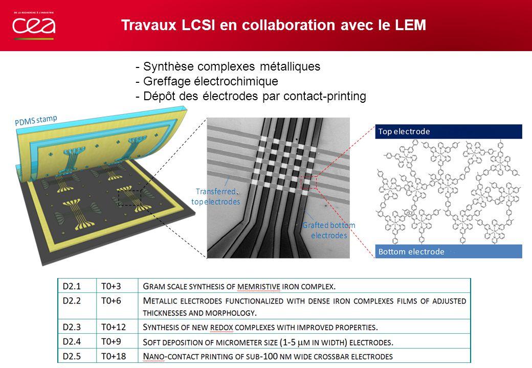 Travaux LCSI en collaboration avec le LEM - Synthèse complexes métalliques - Greffage électrochimique - Dépôt des électrodes par contact-printing