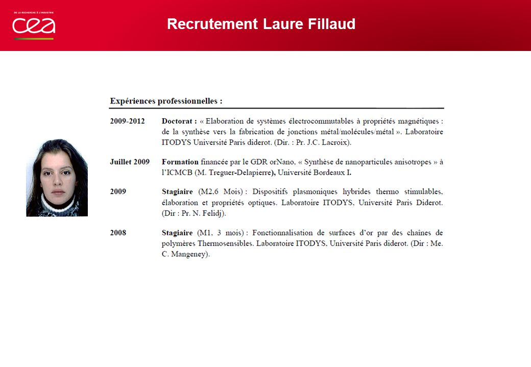 Recrutement Laure Fillaud