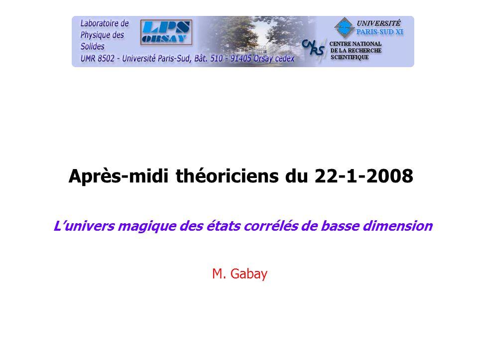 Après-midi théoriciens du 22-1-2008 Lunivers magique des états corrélés de basse dimension M. Gabay
