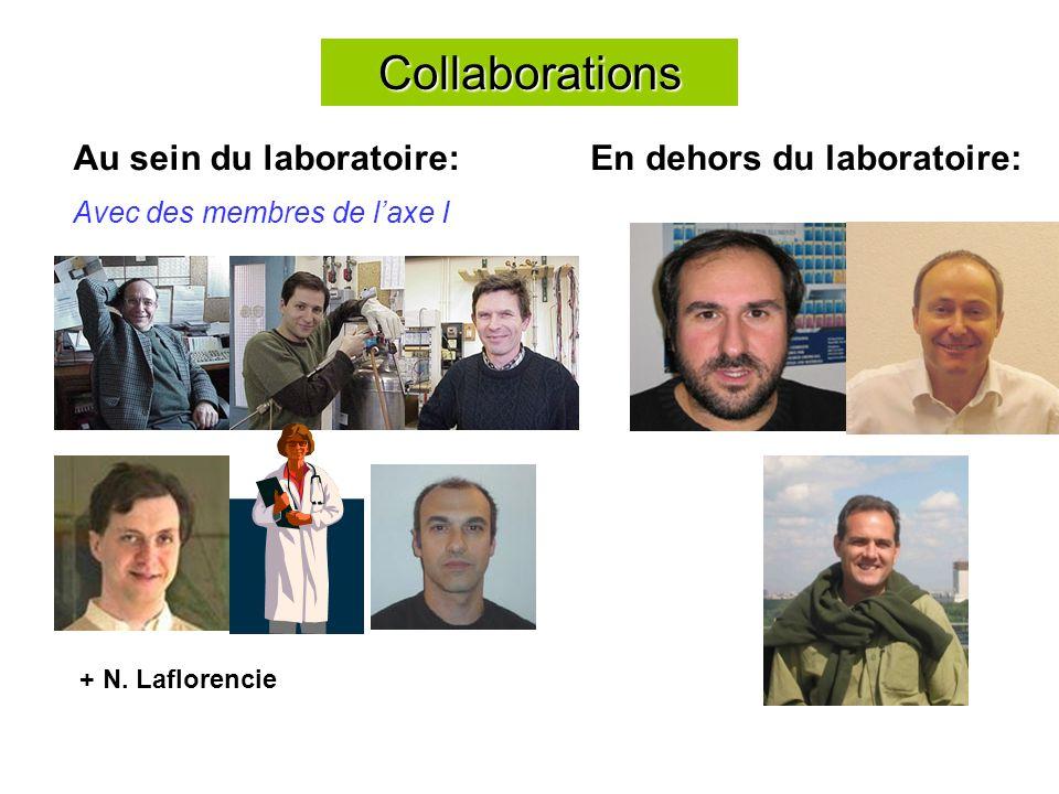 Collaborations Au sein du laboratoire: Avec des membres de laxe I En dehors du laboratoire: + N.