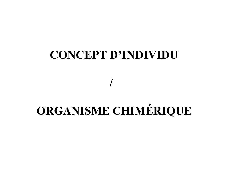 CONCEPT DINDIVIDU / ORGANISME CHIMÉRIQUE