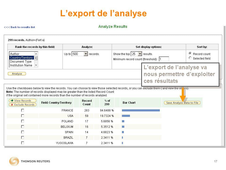 17 Lexport de lanalyse Lexport de lanalyse va nous permettre dexploiter ces résultats