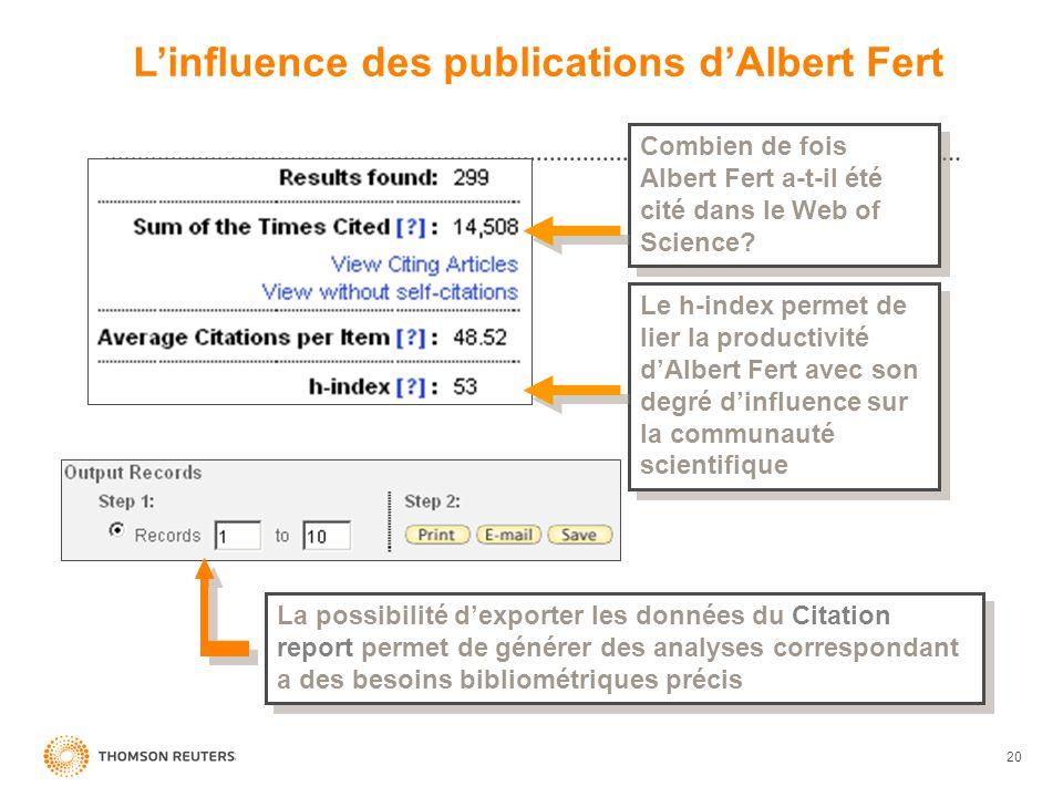 20 Combien de fois Albert Fert a-t-il été cité dans le Web of Science? Le h-index permet de lier la productivité dAlbert Fert avec son degré dinfluenc