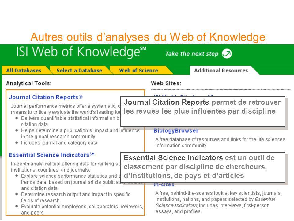 25 Autres outils danalyses du Web of Knowledge Journal Citation Reports permet de retrouver les revues les plus influentes par discipline Essential Sc