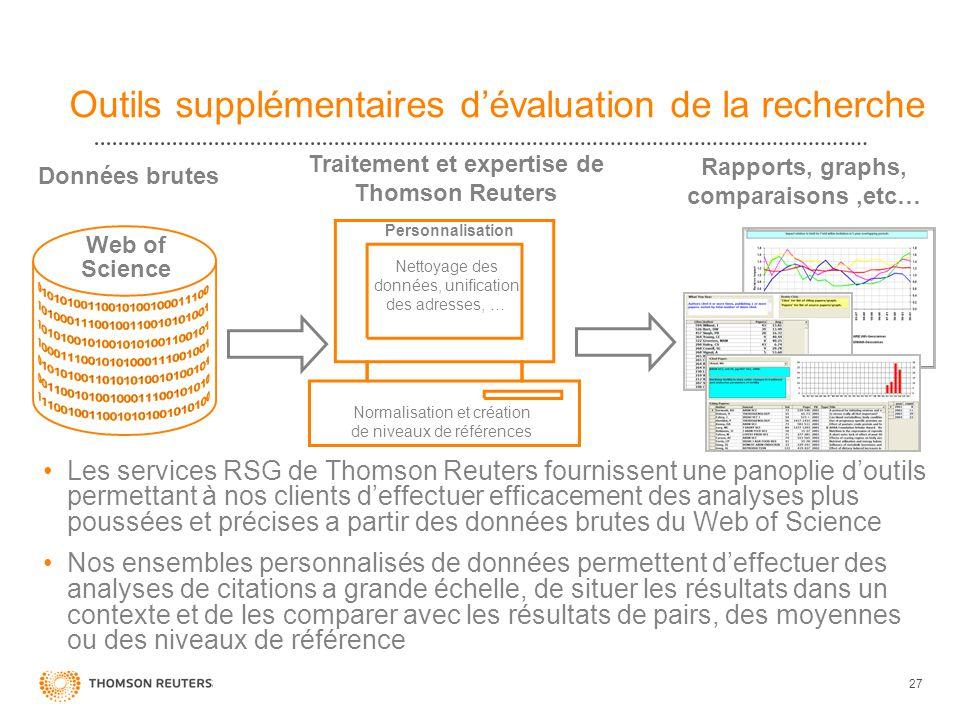27 Outils supplémentaires dévaluation de la recherche Les services RSG de Thomson Reuters fournissent une panoplie doutils permettant à nos clients de