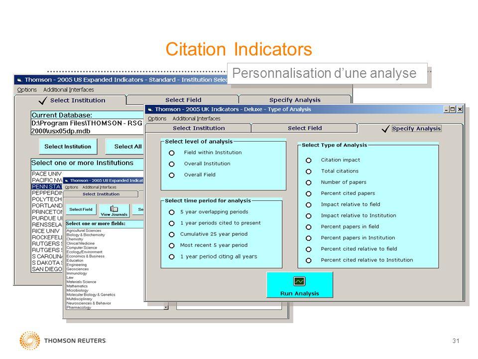 31 Citation Indicators Personnalisation dune analyse