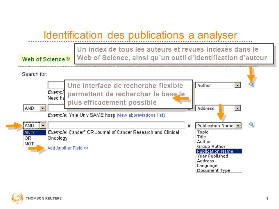 4 Identification des publications a analyser Une interface de recherche flexible permettant de rechercher la base le plus efficacement possible Un ind