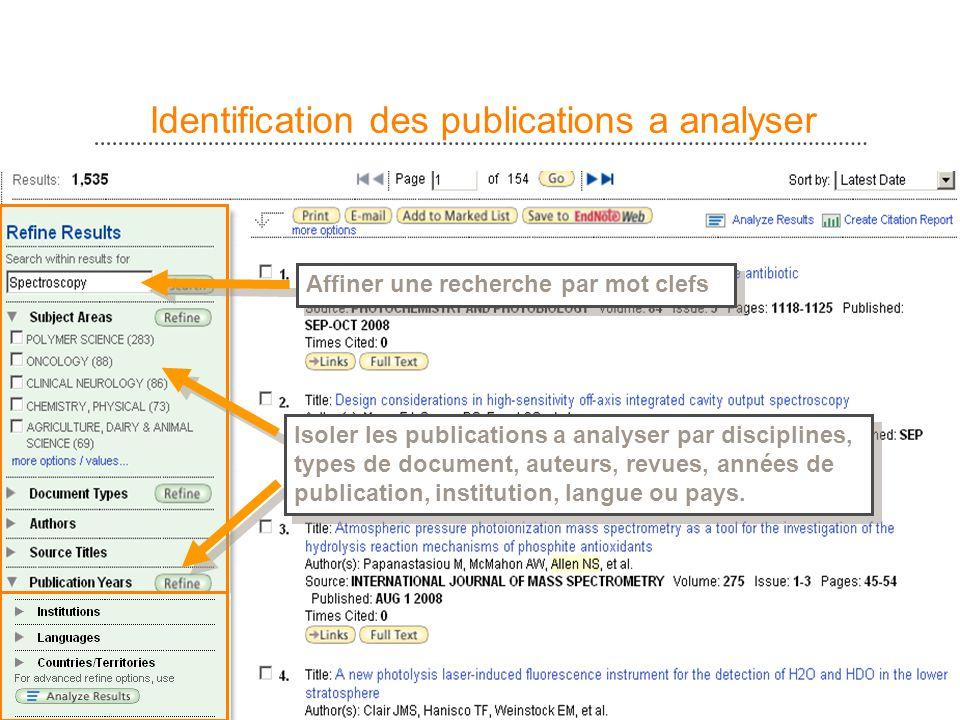 5 Identification des publications a analyser Affiner une recherche par mot clefs Isoler les publications a analyser par disciplines, types de document