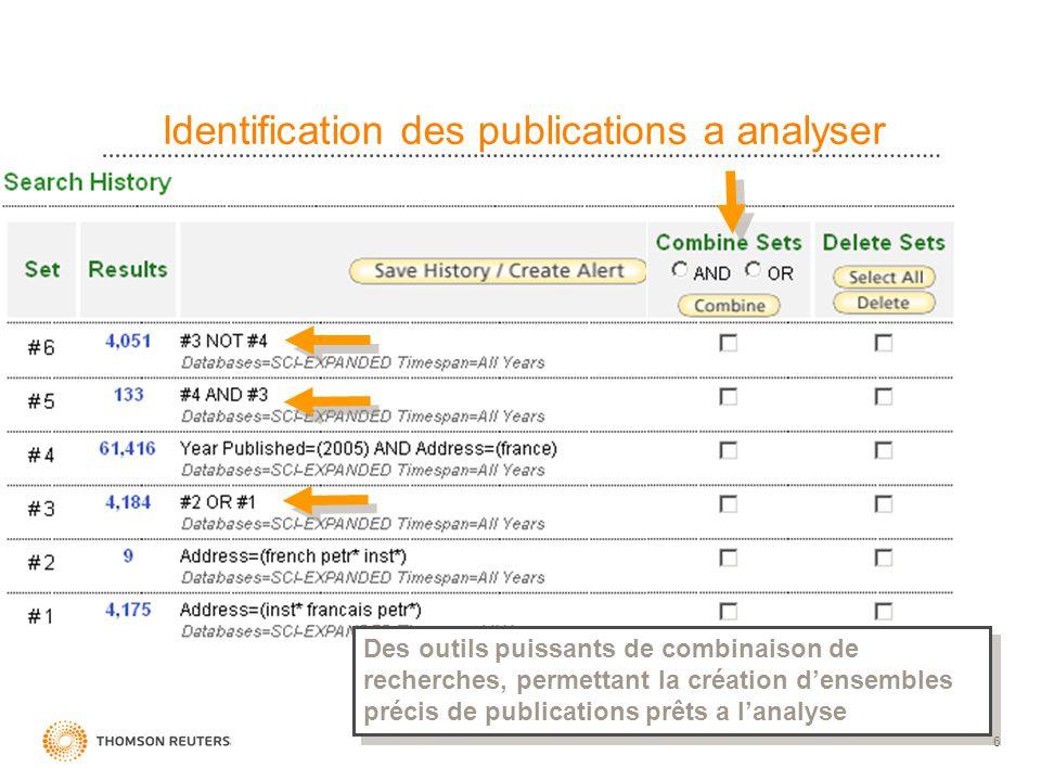 6 Identification des publications a analyser Des outils puissants de combinaison de recherches, permettant la création densembles précis de publicatio